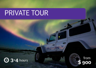 Tour privato dell'aurora boreale in superjeep