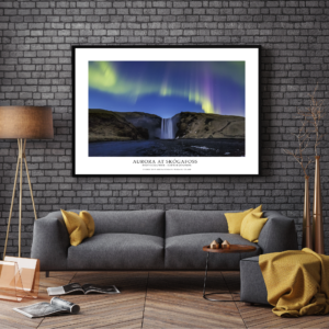 Poster Skogafoss Iceland Northern Lights