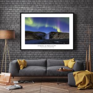 Poster Skogafoss Iceland Northern Lights