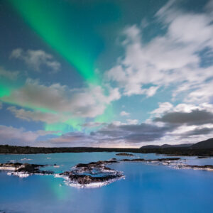 Northern Lights over the Blue Lagoon