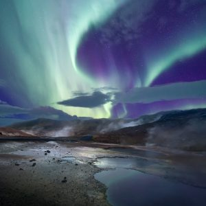 Aurora over Hot spring in Iceland